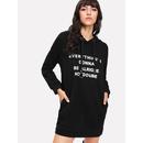 O-Ring Drawstring Slogan Print Hoodie Dress
