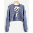 Grommet Lace Up Marled Knit Crop Sweatshirt