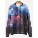Galaxy Print Drawstring Hooded Pocket Sweatshirt