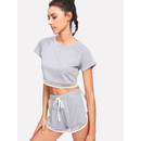 Mesh Trim Heather Knit Tee & Shorts Set