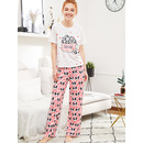 Panda And Heart Print Tee And Pants PJ Set