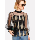Feather Embroidered Mesh Tee With Cami Top