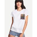 Embroidered Pocket Lace Insert Fringe Hem T-shirt