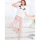 Panda Print Raglan Sleeve Tee & Striped Pants Pj Set