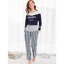 Colorblock Tee And Striped Pants Pajama Set