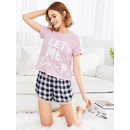 Graphic Tee And Lace Trim Gingham Shorts PJ Set