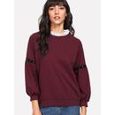 Raglan Sleeve Ruffle Contrast Collar Beaded Sweatshirt