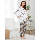 Heart Print Tee & Striped Pants PJ Set