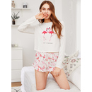 Flamingo Print Tee And Ruffle Shorts Pajama Set
