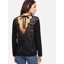See Through Lace Contrast Back Self Tie Tee