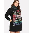 Slogan Print Split Side Sweatshirt Dress