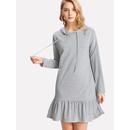 Drop Shoulder Pep Hem Hoodie Dress