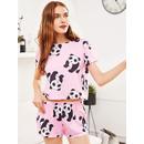 Panda Print Tee And Shorts Pajama Set