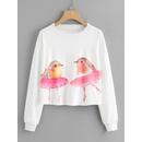 Watercolor Birds Print Crop Sweatshirt