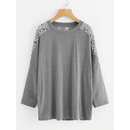 Lace Panel Drop Shoulder Marled T-shirt