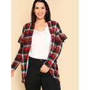 Ruffle Sleeve Curved Open Front Jersey Cardigan