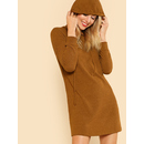 Solid Rib Knit Hoodie Dress