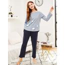 Cloud Print Tee & Striped Pants PJ Set