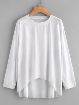 Drop Shoulder Dip Hem T-shirt