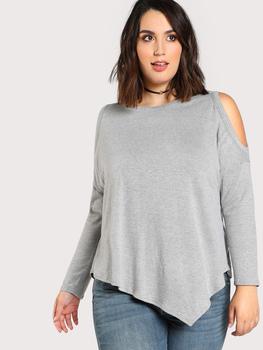 Open Shoulder Asymmetric Hem T-shirt