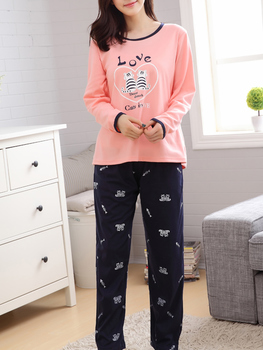 Contrast Binding Cat Print Tee & Pants Pj Set