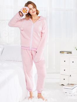 Zip Up Ear Hoodie Plush Pajama Set