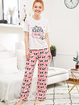 Panda And Heart Print Tee And Pants PJ Set