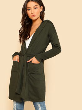 Inseam Pocket Detail Belted Hooded Jersey Cardigan