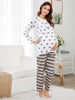 Heart Print Tee & Striped Pants PJ Set