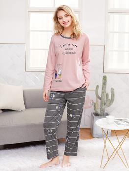 Cartoon & Letter Print Tee & Striped Pants PJ Set