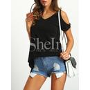 Open Shoulder Asymmetrical Hem T-Shirt