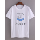 Comic Milk Box Print T-shirt
