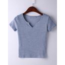 Light Blue Short Sleeve V Neck Ribbed T-shirt