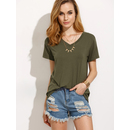 Army Green V Neck Short Sleeve T-shirt