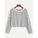 Striped Drop Shoulder Crop T-shirt