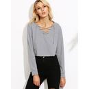 Heather Grey Lace Up V Neck Crop Sweatshirt