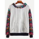 Contrast Sleeve And Hooded Sweatshirt With Kangaroo Pocket