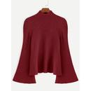 Burgundy Mock Neck Bell Sleeve Jersey Sweater