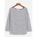 Striped Dropped Shoulder Seam T-shirt