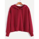 Burgundy Drawstring Hooded Raw Hem Sweatshirt