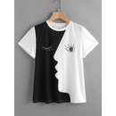 Abstract Face Print Roll Sleeve T-shirt