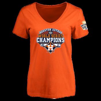 Houston Astros Women's 2017 World Series Champions Design Your Own V-Neck T-Shirt