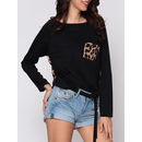 Leopard Printed Patchwork Pockets Designed Round Neck Long-sleeve-t-shirts