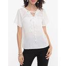 Plain Bowknot Designed V Neck Short-sleeve-t-shirts