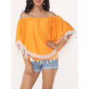 Lace Patchwork Tassel Cape Sleeve Charming Off Shoulder Casual-t-shirts