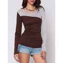 Color Block Designed Round Neck Long-sleeve-t-shirts