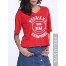 Printed V Neck Short Sleeve T-shirts