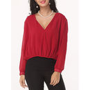 Hollow Out Lace Patchwork Designed Deep V Neck Long-sleeve-t-shirts
