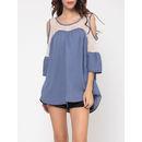Lace Plain Trendy Round Neck Short Sleeve T-shirts