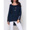 Plain Paillette Dip Hem Designed Round Neck Long-sleeve-t-shirts